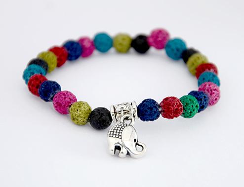 Rainbow Elephant Lava Stone Bracelet